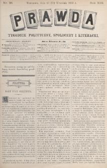 Prawda : tygodnik polityczny, społeczny i literacki. 1893, nr38