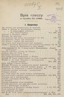 Dwutygodnik Katechetyczny i Duszpasterski. R.12, 1908, Spis rzeczy