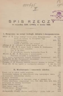 Dwutygodnik Katechetyczny i Duszpasterski. R.13, T.13, 1908/1909, Spis rzeczy