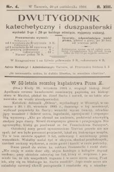 Dwutygodnik Katechetyczny i Duszpasterski. R.13, [T.13], 1908, nr4
