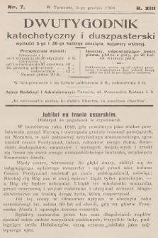 Dwutygodnik Katechetyczny i Duszpasterski. R.13, [T.13], 1908, nr7