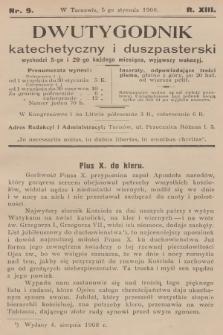 Dwutygodnik Katechetyczny i Duszpasterski. R.13, [T.13], 1909, nr9