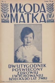 Młoda Matka : dwutygodnik poświęcony zdrowiu i wychowaniu dziecka do lat 7-miu : pismo popierane przez Polskie Towarzystwo Pedjatryczne. R.5, 1931, nr6 + dod.