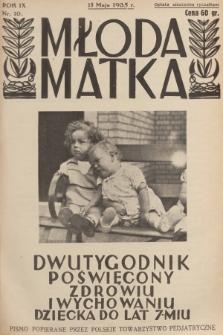 Młoda Matka : dwutygodnik poświęcony zdrowiu i wychowaniu dziecka do lat 7-miu : pismo popierane przez Polskie Towarzystwo Pedjatryczne. R.9, [1935], nr10 + dod.
