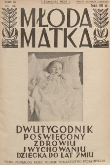 Młoda Matka : dwutygodnik poświęcony zdrowiu i wychowaniu dziecka do lat 7-miu : pismo popierane przez Polskie Towarzystwo Pedjatryczne. R.9, [1935], nr21