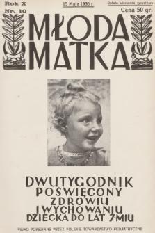 Młoda Matka : dwutygodnik poświęcony zdrowiu i wychowaniu dziecka do lat 7-miu : pismo popierane przez Polskie Towarzystwo Pedjatryczne. R.10, 1936, nr10