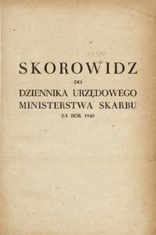 Dziennik Urzędowy Ministerstwa Skarbu. 1948, skorowidz