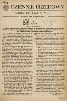 Dziennik Urzędowy Ministerstwa Skarbu. 1948, nr2
