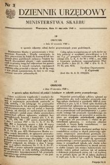 Dziennik Urzędowy Ministerstwa Skarbu. 1948, nr3