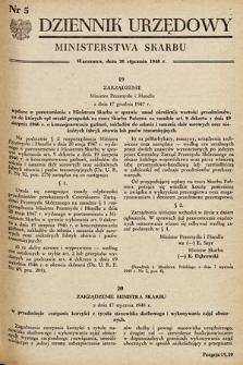 Dziennik Urzędowy Ministerstwa Skarbu. 1948, nr5