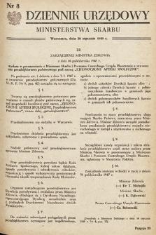 Dziennik Urzędowy Ministerstwa Skarbu. 1948, nr8