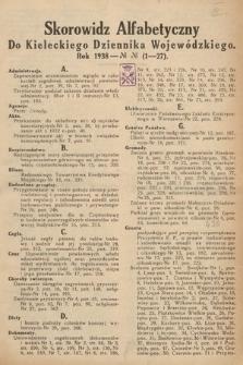 Kielecki Dziennik Wojewódzki. 1938, skorowidz alfabetyczny