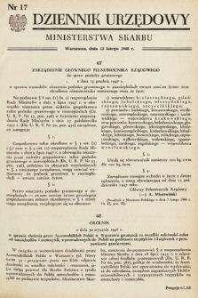 Dziennik Urzędowy Ministerstwa Skarbu. 1948, nr17