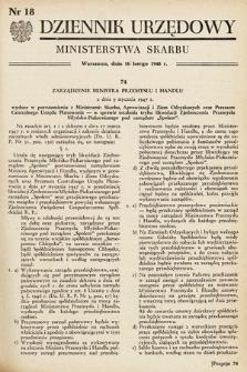 Dziennik Urzędowy Ministerstwa Skarbu. 1948, nr18