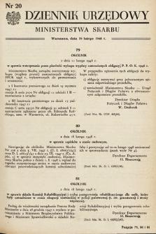 Dziennik Urzędowy Ministerstwa Skarbu. 1948, nr20