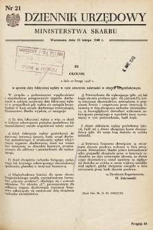 Dziennik Urzędowy Ministerstwa Skarbu. 1948, nr21