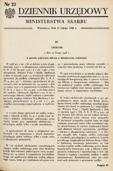 Dziennik Urzędowy Ministerstwa Skarbu. 1948, nr22