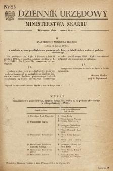 Dziennik Urzędowy Ministerstwa Skarbu. 1948, nr23