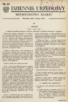 Dziennik Urzędowy Ministerstwa Skarbu. 1948, nr25