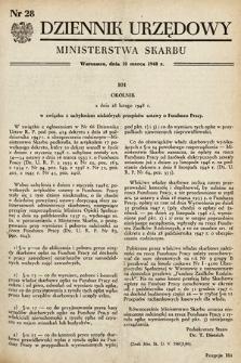Dziennik Urzędowy Ministerstwa Skarbu. 1948, nr28