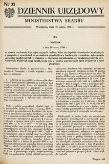 Dziennik Urzędowy Ministerstwa Skarbu. 1948, nr32