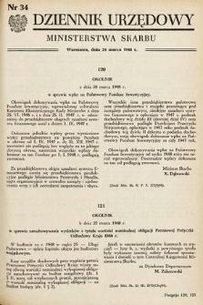 Dziennik Urzędowy Ministerstwa Skarbu. 1948, nr34