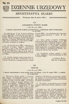 Dziennik Urzędowy Ministerstwa Skarbu. 1948, nr35