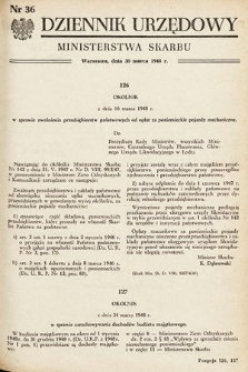 Dziennik Urzędowy Ministerstwa Skarbu. 1948, nr36