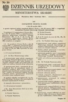 Dziennik Urzędowy Ministerstwa Skarbu. 1948, nr39
