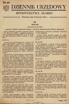 Dziennik Urzędowy Ministerstwa Skarbu. 1948, nr49