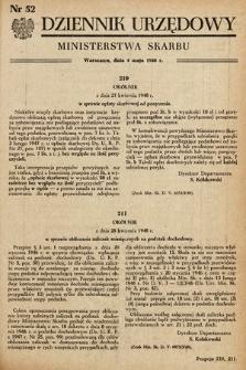 Dziennik Urzędowy Ministerstwa Skarbu. 1948, nr52