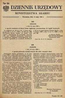 Dziennik Urzędowy Ministerstwa Skarbu. 1948, nr54