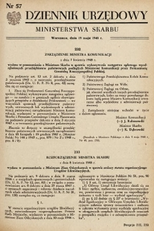 Dziennik Urzędowy Ministerstwa Skarbu. 1948, nr57