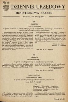 Dziennik Urzędowy Ministerstwa Skarbu. 1948, nr58