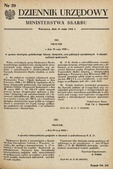 Dziennik Urzędowy Ministerstwa Skarbu. 1948, nr59