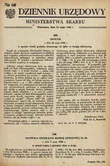 Dziennik Urzędowy Ministerstwa Skarbu. 1948, nr60