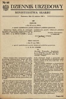 Dziennik Urzędowy Ministerstwa Skarbu. 1948, nr68