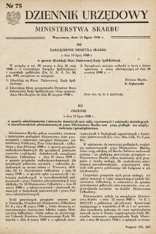 Dziennik Urzędowy Ministerstwa Skarbu. 1948, nr75