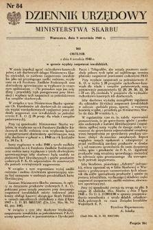 Dziennik Urzędowy Ministerstwa Skarbu. 1948, nr84