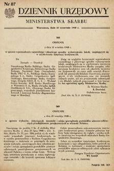 Dziennik Urzędowy Ministerstwa Skarbu. 1948, nr87