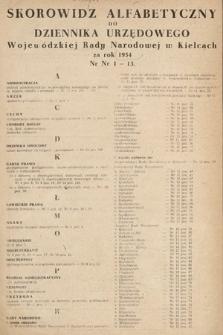Dziennik Urzędowy Wojewódzkiej Rady Narodowej w Kielcach. 1954, skorowidz alfabetyczny