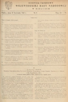 Dziennik Urzędowy Wojewódzkiej Rady Narodowej w Kielcach. 1963, nr9