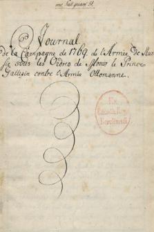 Journal de la campagne de 1769 de l'armée de Russie sous les ordres de monseigneur le Prince Gallizin contre l'armée Ottomane