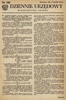 Dziennik Urzędowy Ministerstwa Skarbu. 1948, nr100