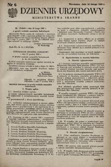 Dziennik Urzędowy Ministerstwa Skarbu. 1949, nr6