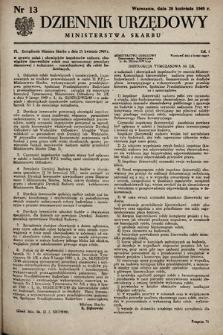 Dziennik Urzędowy Ministerstwa Skarbu. 1949, nr13