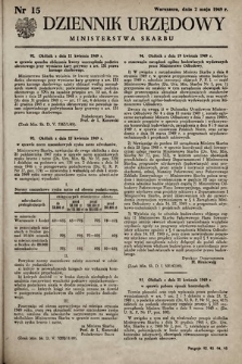 Dziennik Urzędowy Ministerstwa Skarbu. 1949, nr15