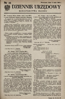 Dziennik Urzędowy Ministerstwa Skarbu. 1949, nr16