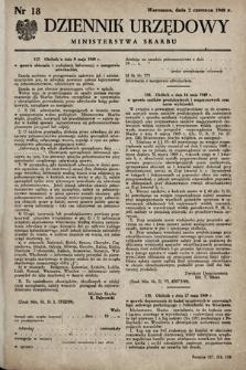 Dziennik Urzędowy Ministerstwa Skarbu. 1949, nr18