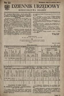 Dziennik Urzędowy Ministerstwa Skarbu. 1949, nr22